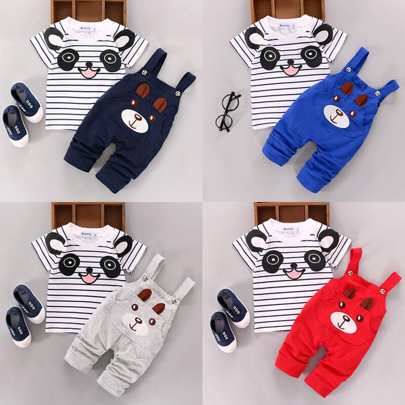 US 2PCS Toddler Baby Boy Girls T-shirt Tops+Pants Overalls O