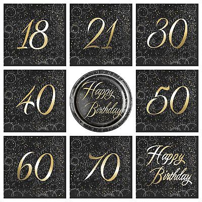 Black And Gold Sparkle Glitz Party Tableware Birthday Napkins Plates - Black And Gold Napkins