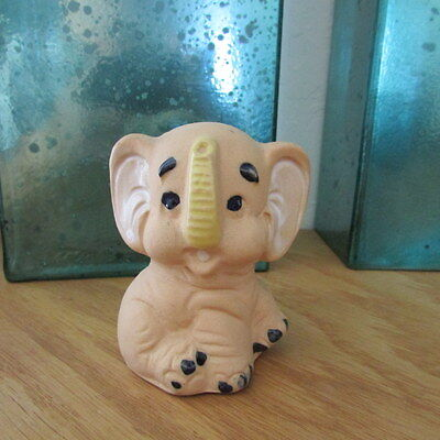 Vintage Handcrafted Stoneware Elephant Figurine Coin Bank