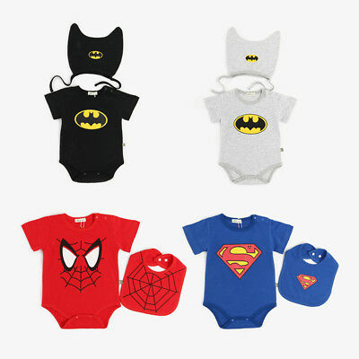 Baby Batman Outfit (BABY SUPERMAN/BATMAN ROMPER +HAT/BIB NEWBORN BOY GIRL BABYGROW OUTFITS)