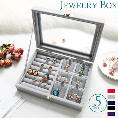 Velvet Glass Jewelry Ring Display Organizer Box Tray Holder Earring Storage Case Glass Jewelry Display Cases