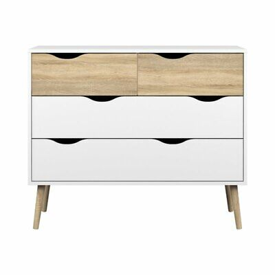 Tvilum Diana 4 Drawer Chest in White and Oak