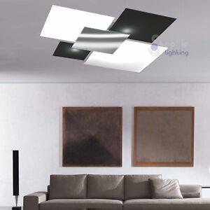 Plafoniera soffitto design moderno acciaio cromato vetro bianco nero soggiorno - Plafoniera moderna soggiorno ...