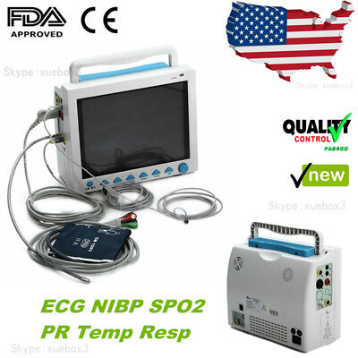 Icu Ccu Patient Monitor 6-parameter Vital Signs Portable Medical Machine Cms8000
