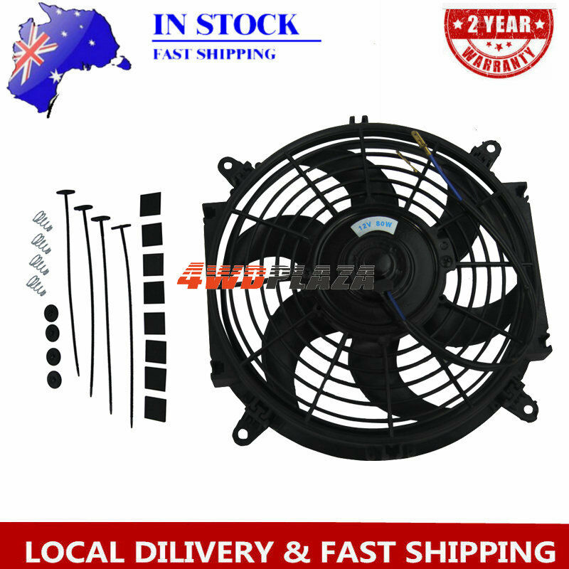 """12V 10/"""" Electric Fan Curved S Blade Radiator Cooling Fan Reversible Muscle Car"""
