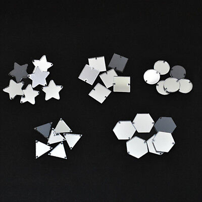 Acrylic Craft Mirrors for Embroidery Craft Jewelry Making DIY Silver 25 Pieces - Mirror Pieces