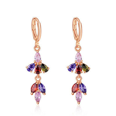 - Monalisa Multi Amethyst Peridot Garnet Yellow Gold Plated Flower Dangle Earrings