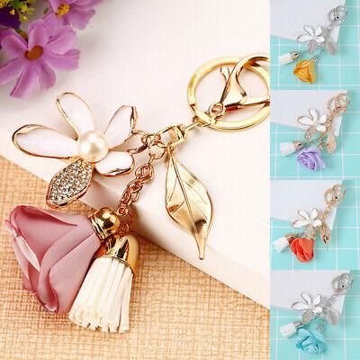 Charm Keychain Car Women Bag Tassel Cute Crystal Key Ring Flower Key Chain