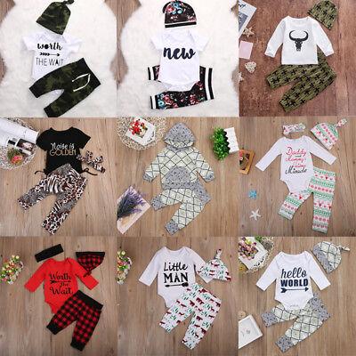 USA 3PCS Newborn Baby Boys Girls Clothes Romper Bodysuit+Pants Outfit Hat Set ()