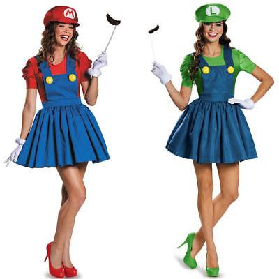 Women's Super Mario and Luigi Skirt Version Adult Costume Mustache Gloves Cap