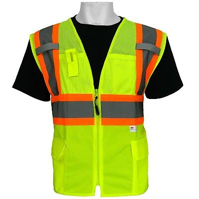 3m Ansi Class 2 Surveyor Style Pockets Safety Vest High Visibility Size Small