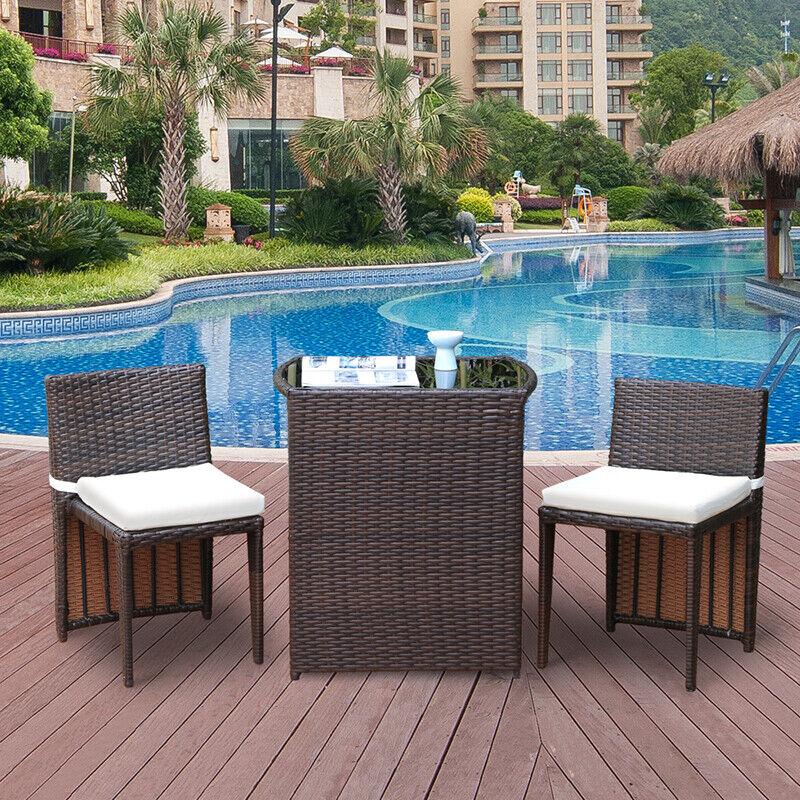 Garden Furniture - 3Pcs Wicker Rattan Patio Outdoor Furniture Sofa Bistro Set Garden Modern Brown