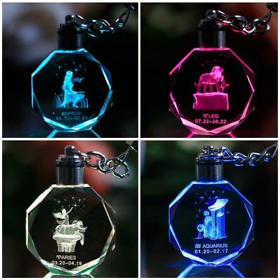 Quality Engraved Zodiac LED Night light Crystal Keychain Glass Gift Souvenirs