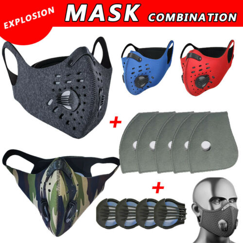 Sport Face Mask W/Valves& Replaceable Filter Pads Anti Pollu