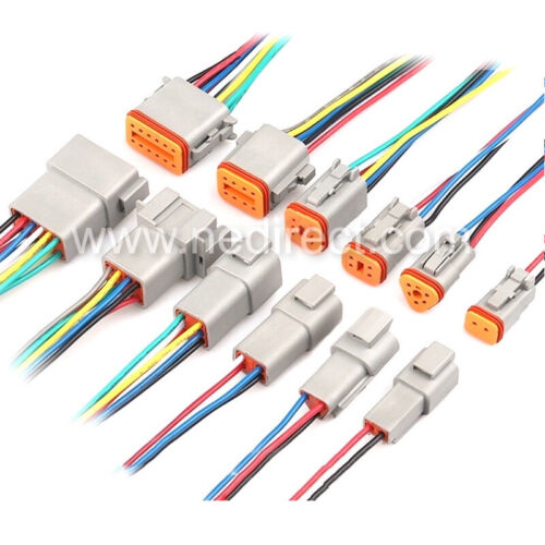 "6"" Assembled Deutsch 2,3,4,6,8,12 Pin,12, 14 and 16 AWG  waterproof connector"