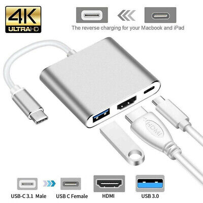 USB-C Type-C 3.1 to USB-C 4K HDMI USB 3.0 Adapter 3 in 1 Hub For Macbook Pro
