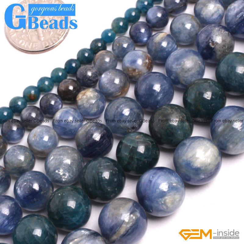 "Blue Kyanite Gemstone Round Beads Free Shipping Strand 15"" 4mm 6mm 8mm 10mm 12mm"