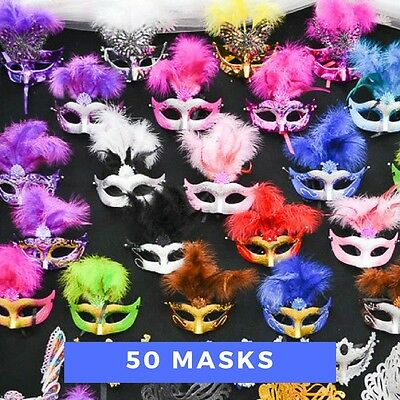 Lot of 50 Mixed Costume Party Mask Masquerade Mardi Gras Halloween Quince Masks (Halloween Party Masks)