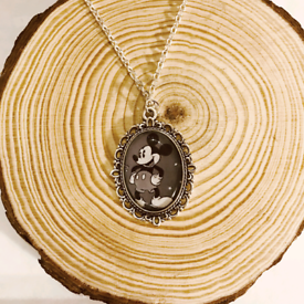 Disney Vintage Mickey Mouse Silver Cameo Charm Necklace