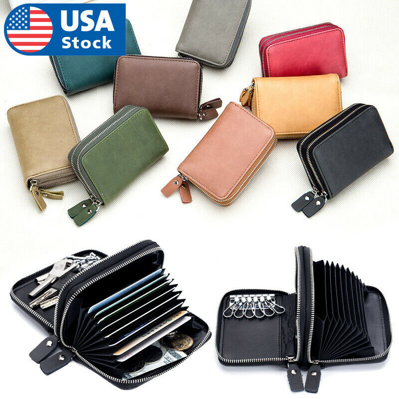 Genuine Leather Wallet Car Key Holder Case Keychain Bag Zipper Credit Card Purse Clothing, Shoes & Accessories