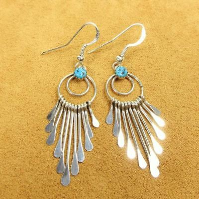 Native American Pauline Armstrong Turquoise 925 Sterling Silver Dangle Earrings
