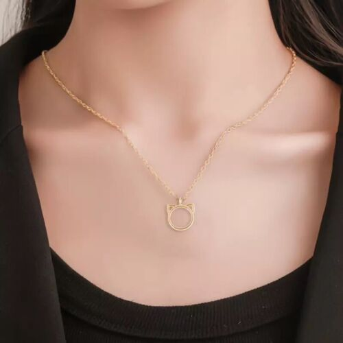 925 Silver or Gold Plated Love Cat Ears Kitty Pendant Necklace Girl 18″+2″ N124 Fashion Jewelry