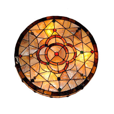 - Vintage Tiffany Style Stained Glass Big Flush Mount Ceiling Light  Lamp Fixture