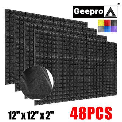 48pc 12x12x2 Acoustic Foam Black Panel Tiles Wall Record Studio Sound