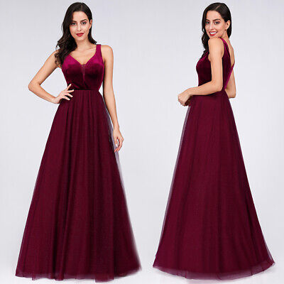 Ever-Pretty US Women Pageant Burgundy Gown Evening Party Bridesmaid Dress 07849