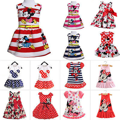 Newborn Baby Girls Minnie Mouse Dress Kids Cartoon Summer Vest Skirt Party Dress](Minnie Mouse Skirt)