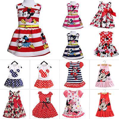 Baby Kinder Mädchen Kleid Minnie Maus Partykleid Mini Sommerkleid Freizeitkleid