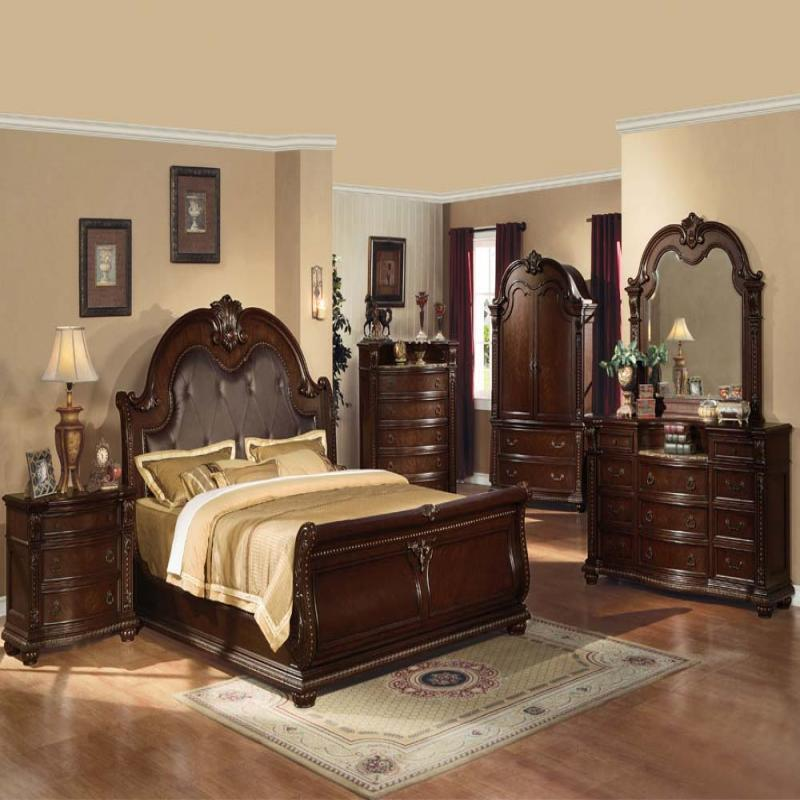 Formal Antique Anondale Cherry Eastern King Size 4 Piece Bedroom Set Furniture
