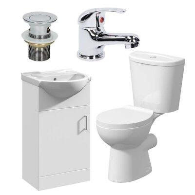 Bathroom Suite Cloakroom Vanity Unit Close Coupled Toilet Basin Tap & Waste Set