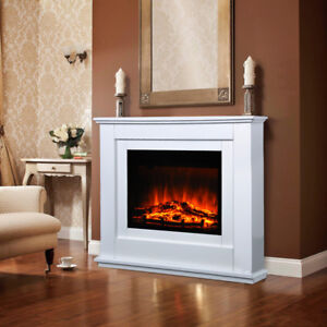 Insert Freestanding Electric Fireplace and Surround MDF Mantel Suite LED Flame