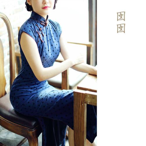Chinese Vintage Cheongsam Cap Sleeves Medium Long Qipao Dress Chiffon NanNan