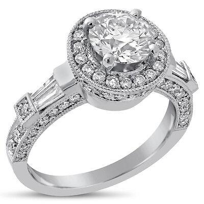1.75CT ROUND HALO ANTIQUE STYLE DIAMOND ENGAGEMENT RING R159