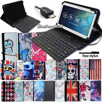 Leather Stand Cover Case With Keyboard For Various HP 7
