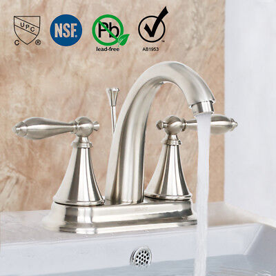 4 Inch centerset Bathroom Faucet Brushed Nickel 2 Handle Lavatory W/ Drain (Brass 4 Inch Centerset Faucet)