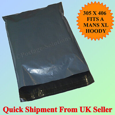 100 Strong Grey Mailing Plastic Postage bags 12
