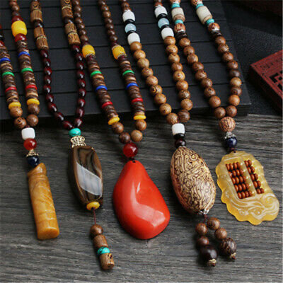Wooden Beaded Pendant Necklace Long Sweater Chain Bohemian Carved Jewelry Gift H