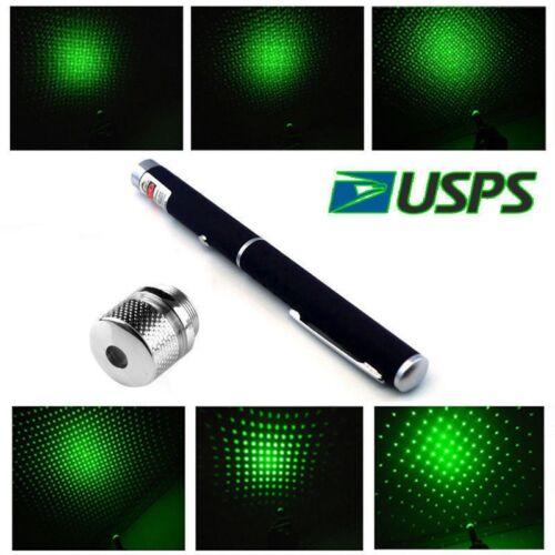 500Miles Aluminium 650nm Red+532nm Green Laser Pointer Pen Visible Beam+Star Cap