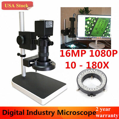 16mp 180x 1080p 60fps Hdmi Hd Industry Lab Microscope Camera Set 4gb Tf Card