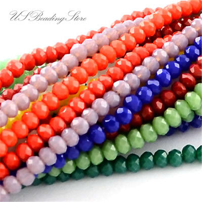 10 Strds Faceted Abacus Glass Beads Imitation Jade Loose Gemstone Beads 3.5~4mm