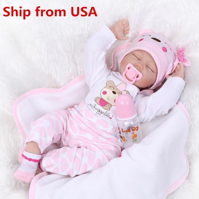 Изображение товара 22''Handmade Lifelike Baby Girl Doll Silicone Vinyl Reborn Newborn Dolls+Clothes