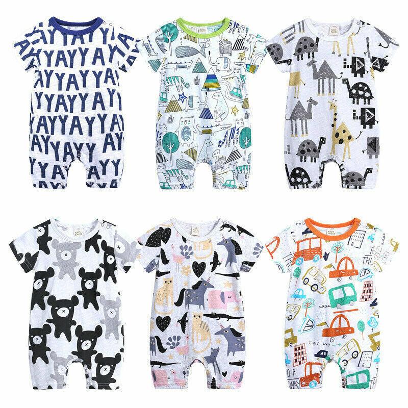 NEW USA Newborn Unisex Girl Boy Baby Bodysuit Cotton Short Sleeve Romper Clothes