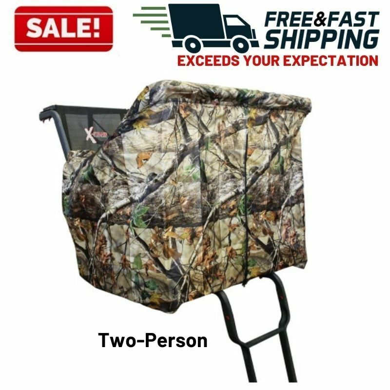 X Stand Treestand 2 Man Camo Cover Blind Ladder Shield Zippe