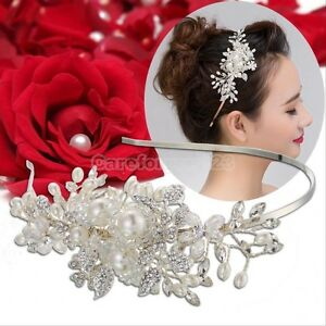 Bridal Rhinestones Pearls Flowers Headband Hairband Silver - New