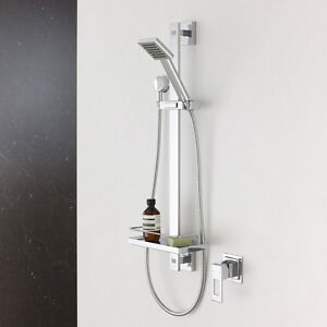 NEW RELEASE Caroma Quatro Square Shower on Rail w/ Loofah Hook/Shelf Chrome