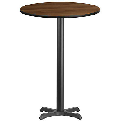 30 Round Walnut Laminate Table Top With 22 X 22 Bar Height Base