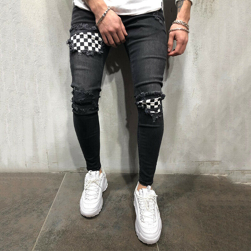 Men Biker Ripped Frayed Distressed Denim Pants Slim Fit Skinny Jeans Trousers Clothing, Shoes & Accessories